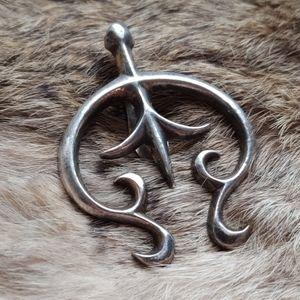 Sandcast sterling silver Naja pendant